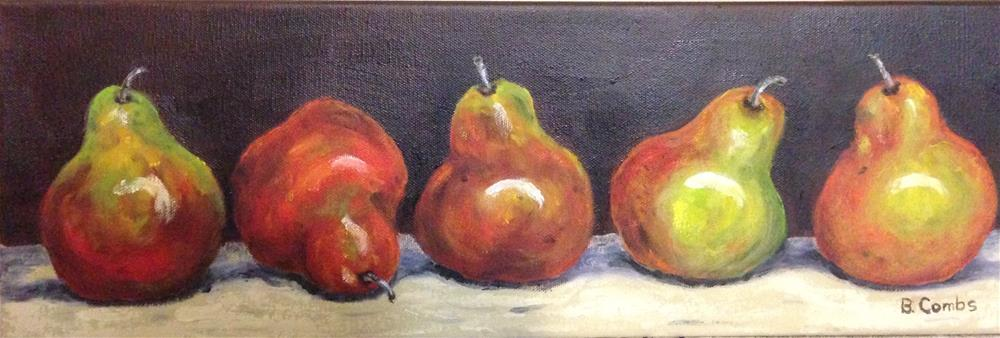 """""""Pears in a row"""" original fine art by Bebe Combs"""