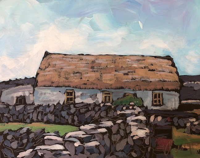 """Aran Island Cottage"" original fine art by Kat Corrigan"