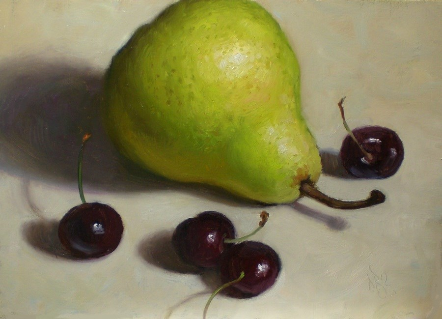 """Pear and Cherries"" original fine art by Debra Becks Cooper"