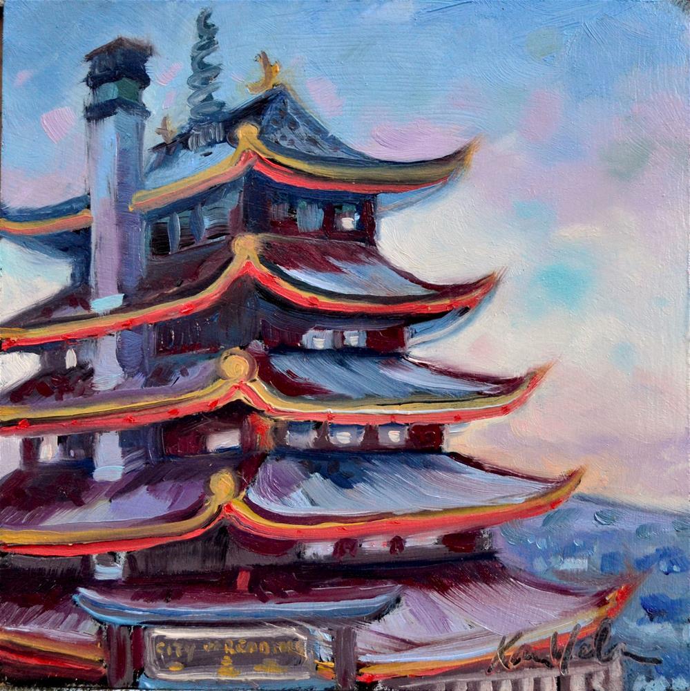 """""""Sunset Pagoda"""" original fine art by Karen Weber"""