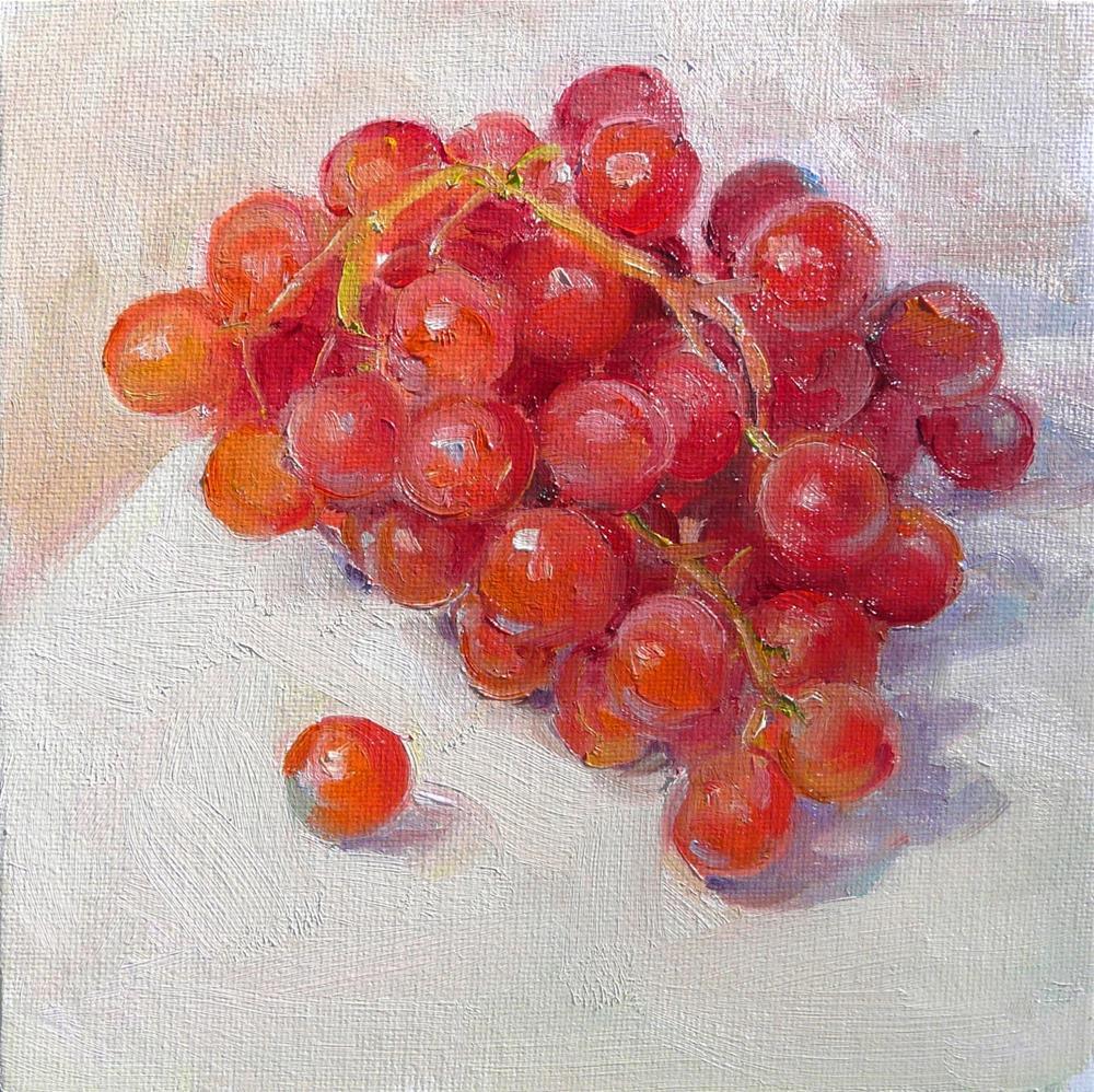 """Grapes,still life.oil on canvas,8x8.price$275"" original fine art by Joy Olney"