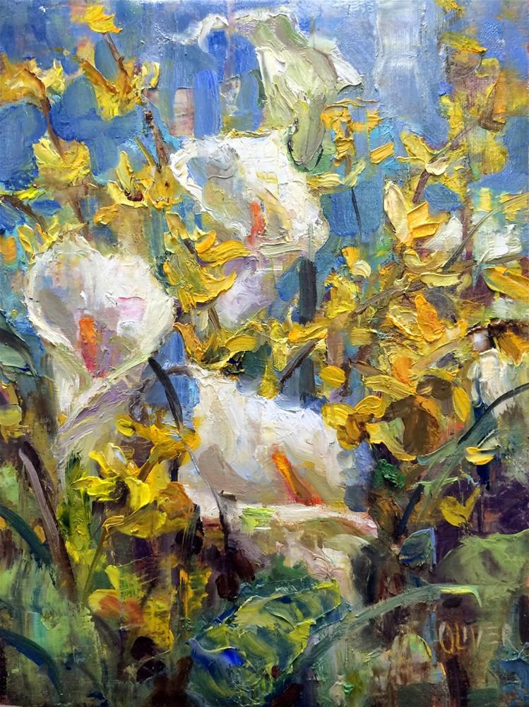 """Calla Lilies and Forsythia"" original fine art by Julie Ford Oliver"