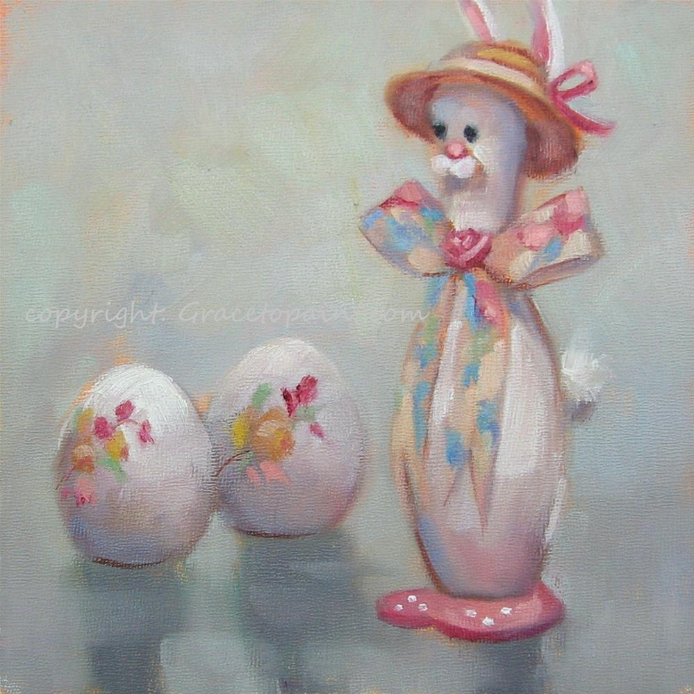 """Bonnet Bunny"" original fine art by Maresa Lilley"