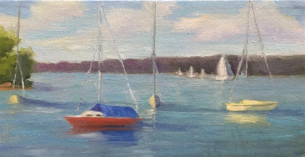 """""""Boats in the Bay"""" original fine art by Judith Anderson"""