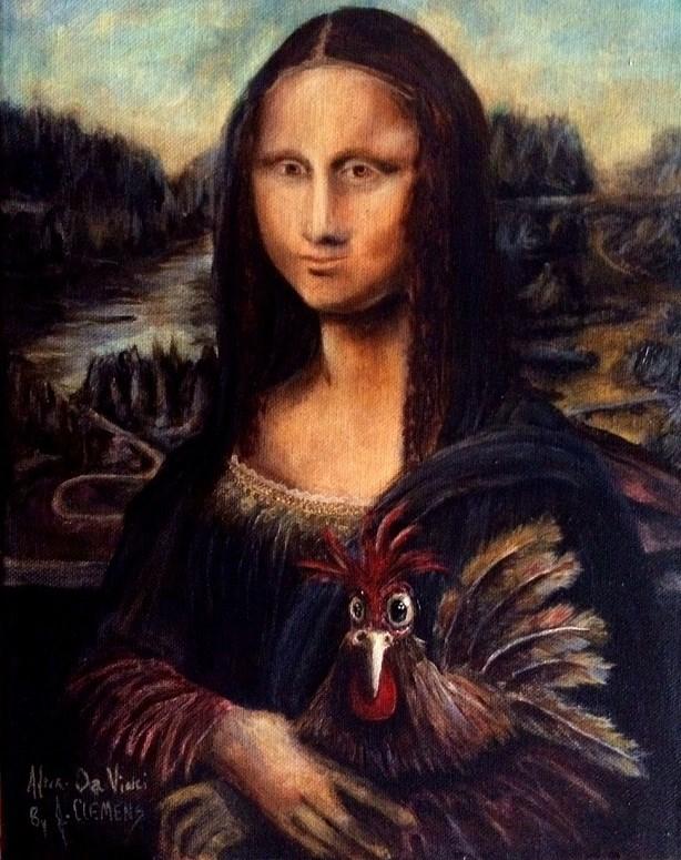"""After Da vinci- Henrietta's art crawl - Hangin with Mona"" original fine art by Jolynn Clemens"