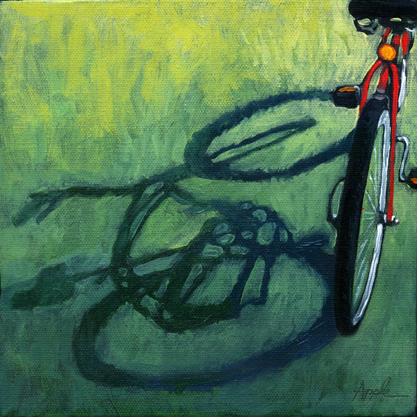 """""""At the Park - bicycle shadow oil painting"""" original fine art by Linda Apple"""