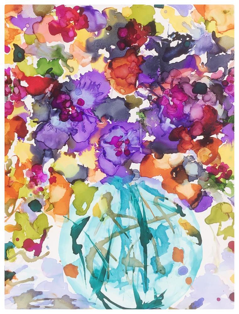 """""""September Teal Vase"""" original fine art by Kelly Alge"""