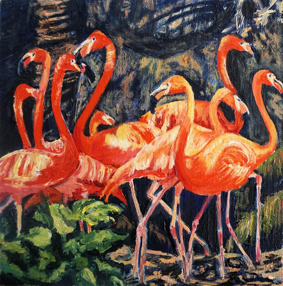 """Flamingo Ballet"" original fine art by Patricia Matranga"