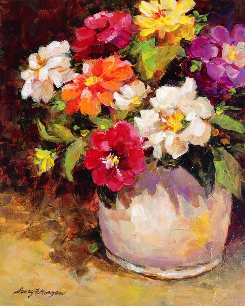 """Zinnia Zest"" original fine art by Nancy F. Morgan"