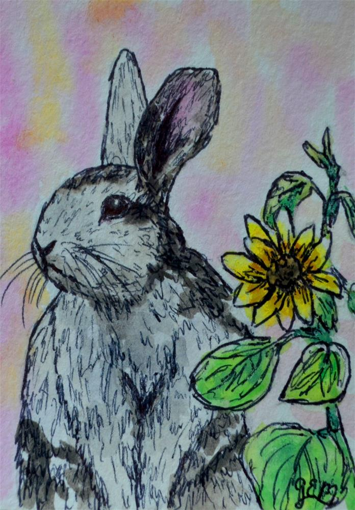 """Bunny Watercolor Aceo"" original fine art by Gloria Ester"