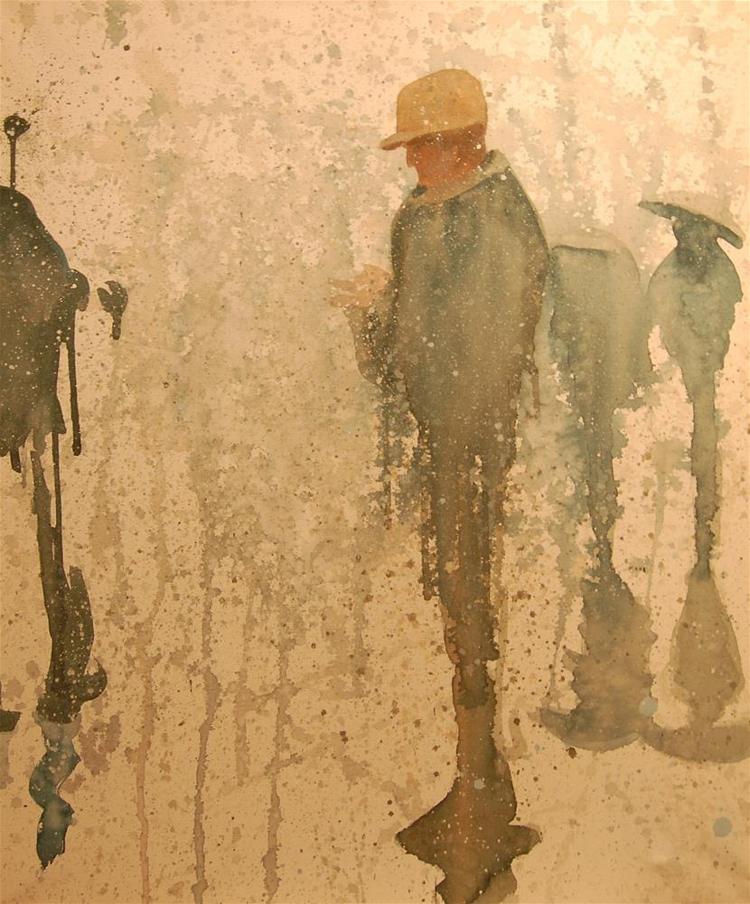"""rain city (people in the rain 4)"" original fine art by michael vigneux"