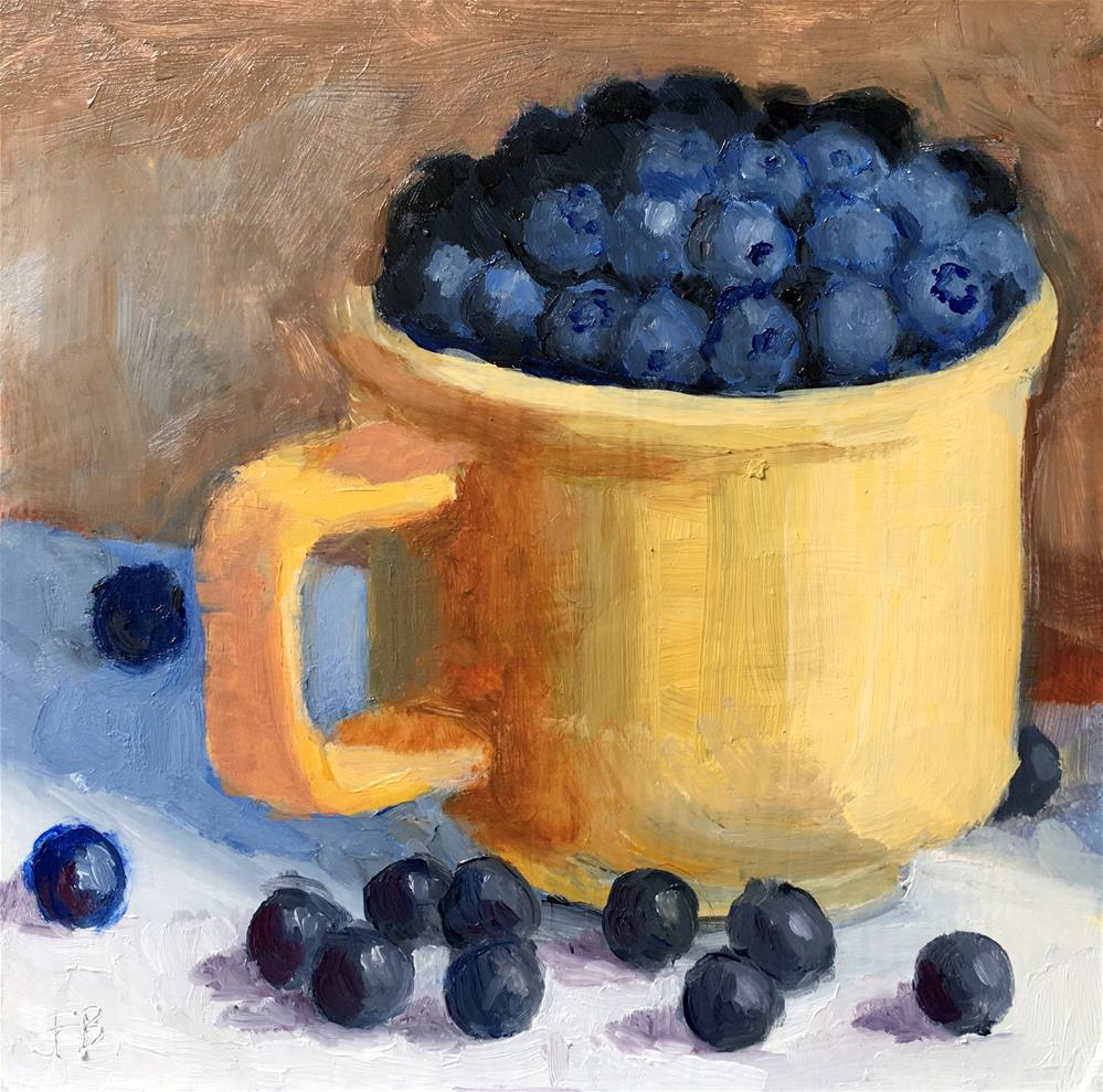 """""""051 Blueberries In Yellow Cup, Daily Painting Ritual, free shipping"""" original fine art by Fred Bell"""