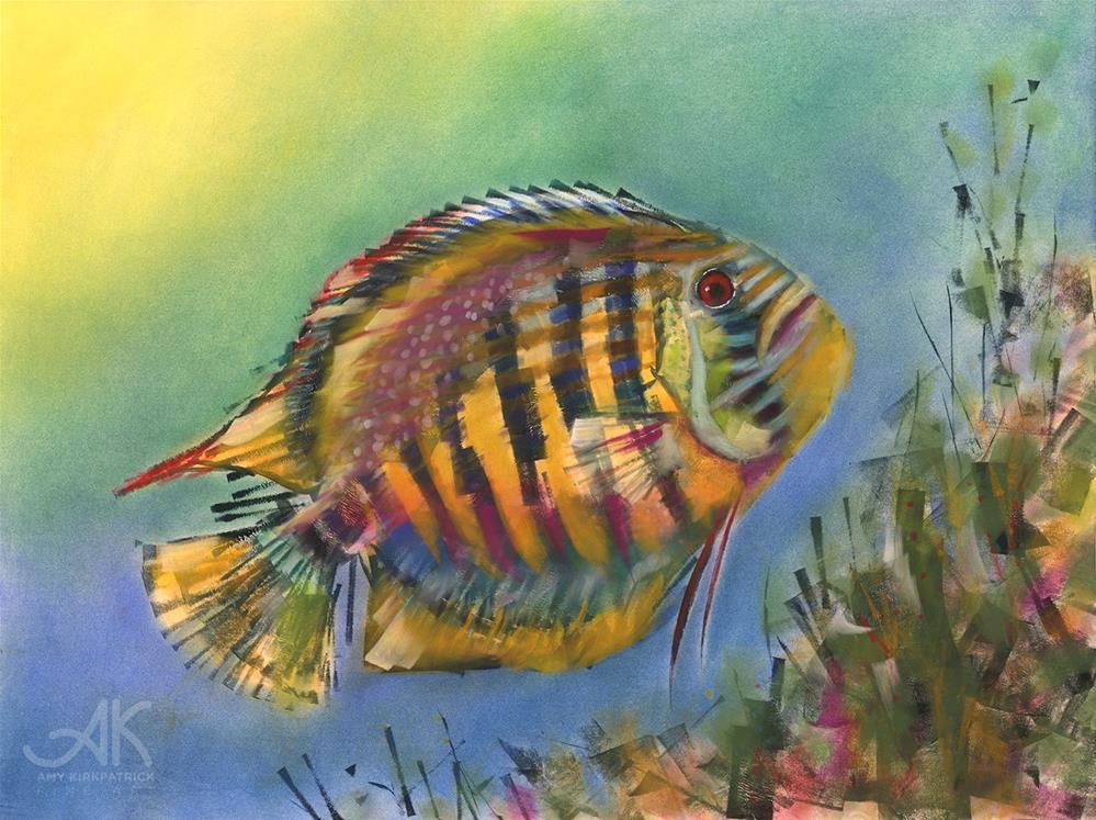 """REEF DISCUS FISH #0755"" original fine art by Amy Kirkpatrick"