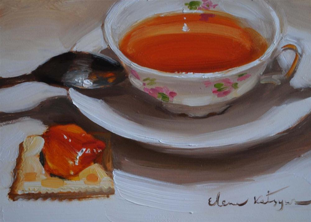 """""""Tea & Jam"""" original fine art by Elena Katsyura"""
