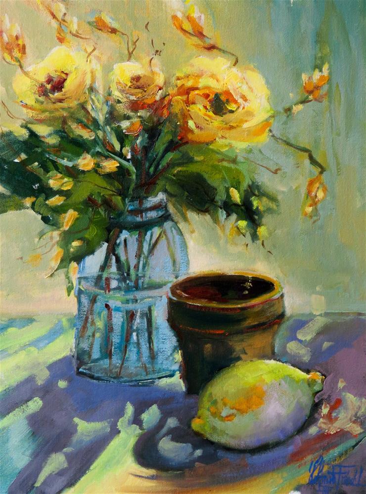 """""""Still life Yellow Flowers"""" original fine art by Christa Friedl"""