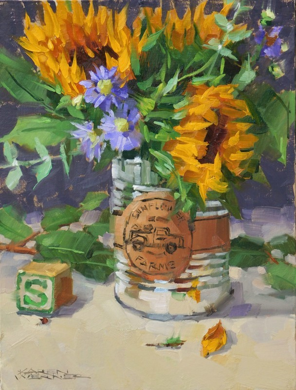 """S For Sunflowers"" original fine art by Karen Werner"
