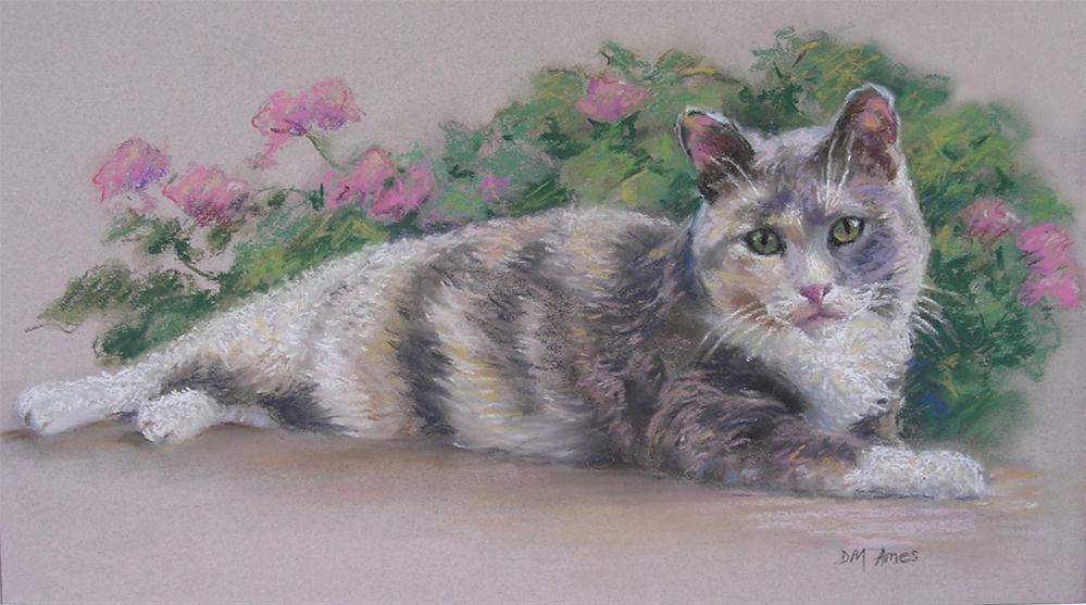 """KC the Cat"" original fine art by Debra Ames"