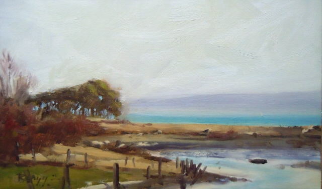 """""""Crossing over to Marrowstone Island oil landscape painting ."""" original fine art by Robin Weiss"""
