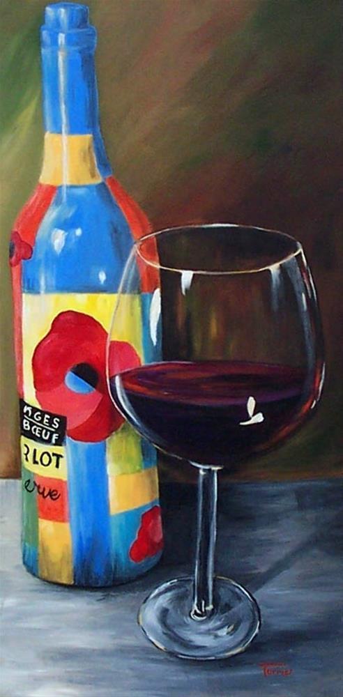 """Glass of Merlot"" original fine art by Torrie Smiley"