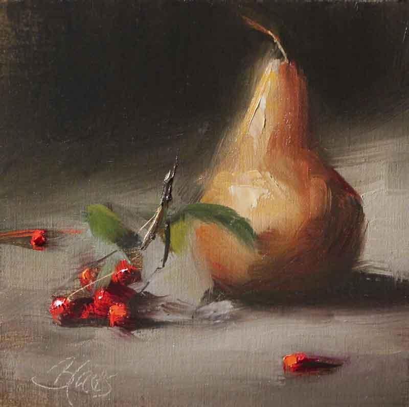 """""""Golden Pear and Winter Berries"""" original fine art by Pamela Blaies"""