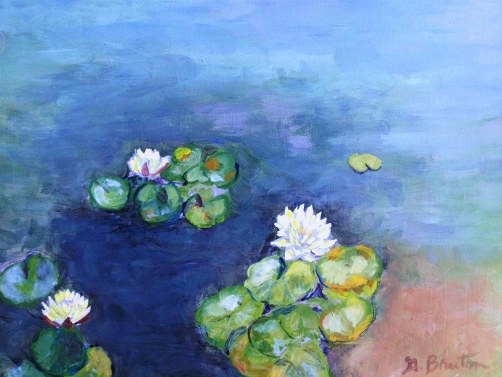 """Plein air, water lilies"" original fine art by Gary Bruton"