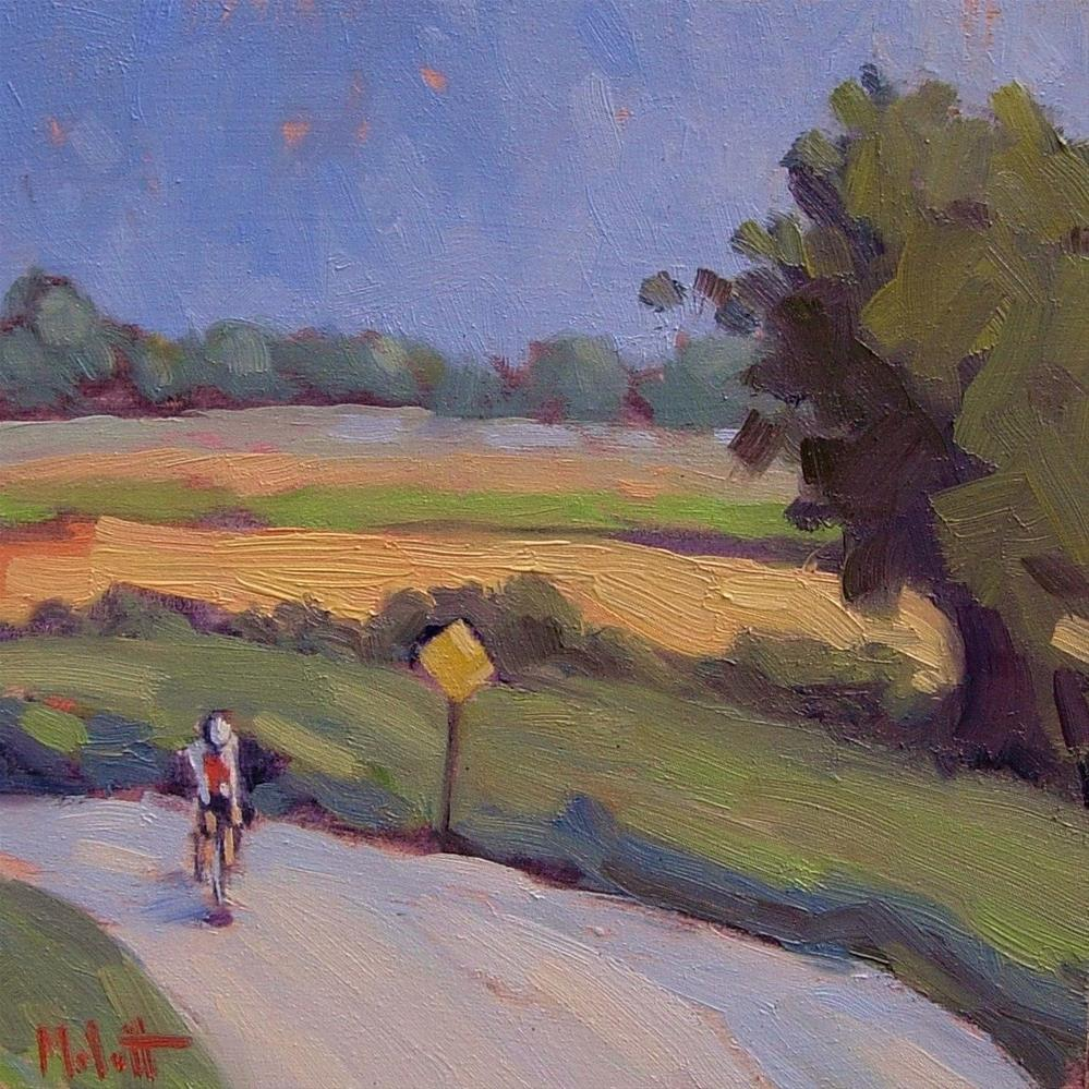 """""""Touring the Countryside Cycling Contemporary Oil Painting"""" original fine art by Heidi Malott"""