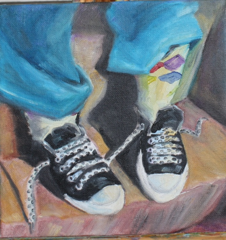 """Shoe Challenge"" original fine art by Maggie Flatley"