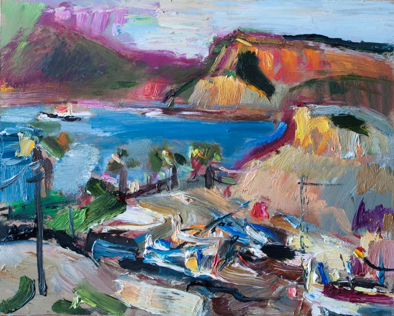 """Mountains of the Bay of Portman"" original fine art by Anna Fine Art"
