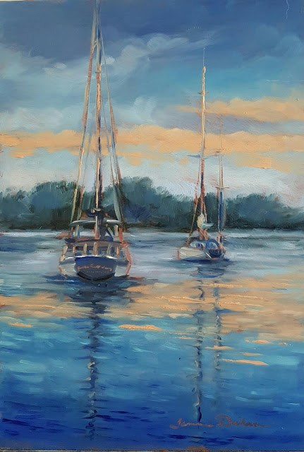 """""""Sailboats at Sunset"""" original fine art by Tammie Dickerson"""