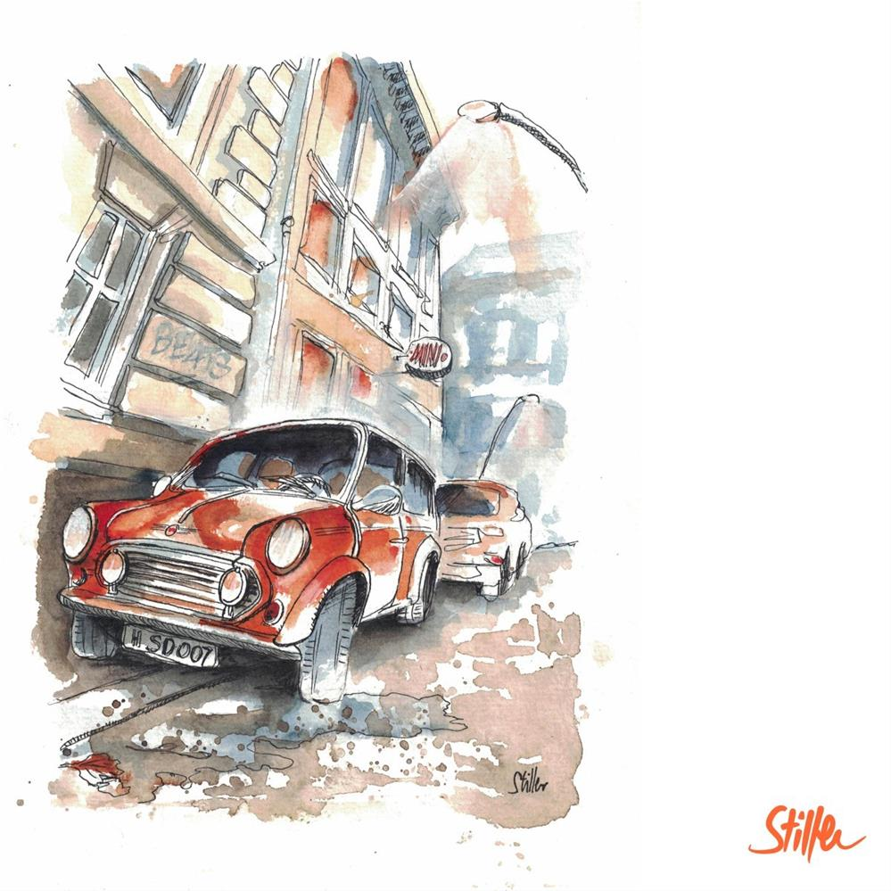 """3272 Old Mini from the front"" original fine art by Dietmar Stiller"