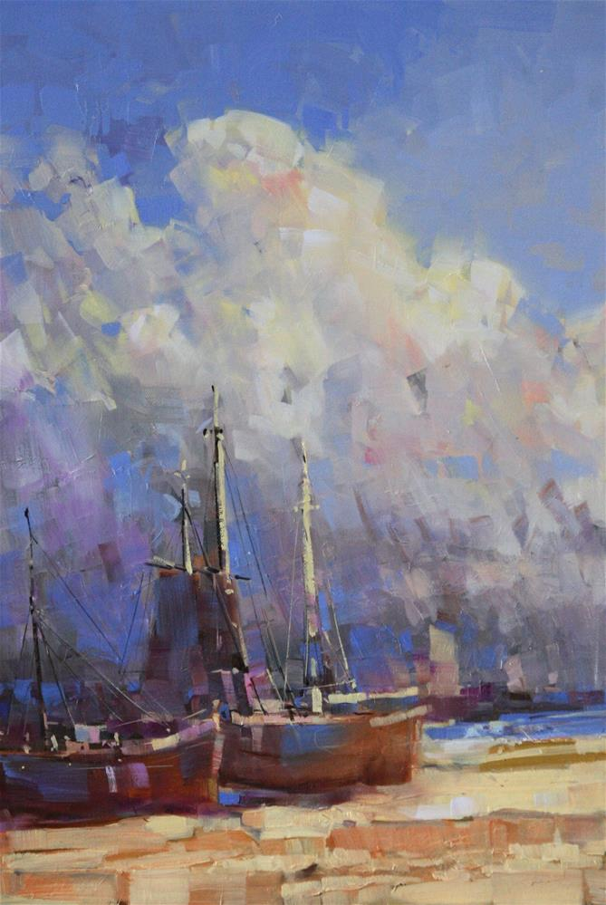 """""""HARBOR OIL ON CANVAS ONE OF A KIND"""" original fine art by V Y"""
