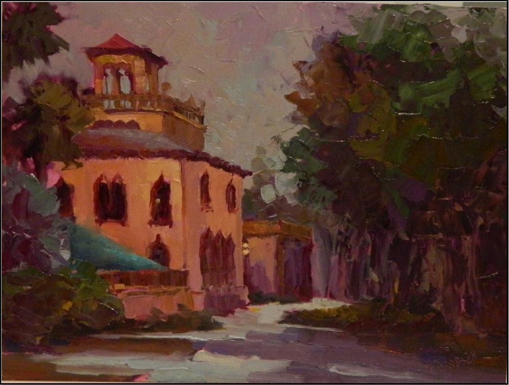 """Before the Rain, Ca' d Zan, 12x16, oil on board, plein air"" original fine art by Maryanne Jacobsen"
