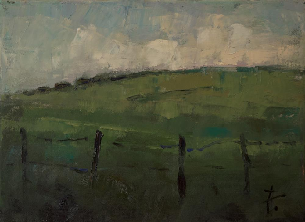"""Hills and Fence near The Trundle"" original fine art by Andre Pallat"