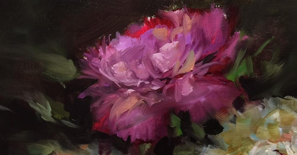 """Solo Shine Peony and May 11 Is Almost Here!"" original fine art by Nancy Medina"