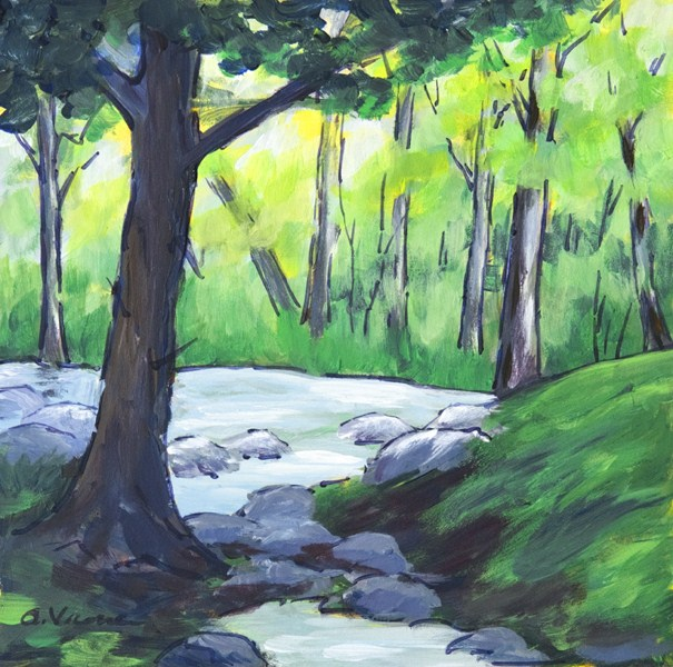 """Woodland Stream"" original fine art by Anna Vreman"