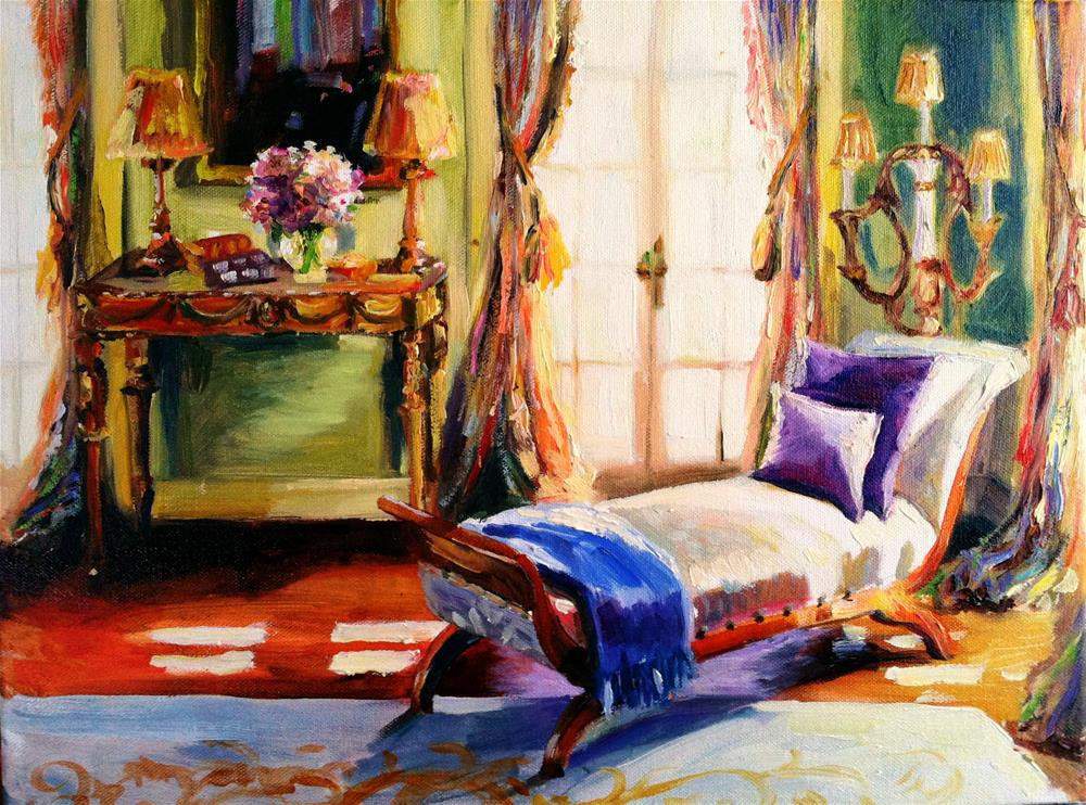 """""""FRENCH CHAISE"""" original fine art by Cecilia Rosslee"""