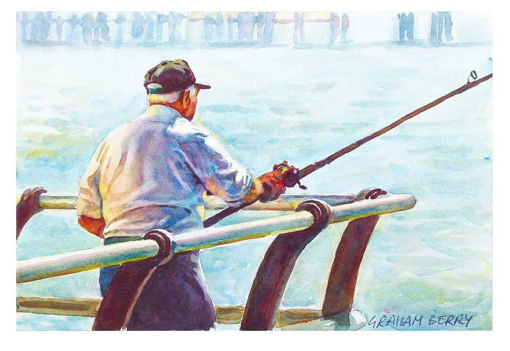 """Fishing off the pier"" original fine art by Graham Berry"