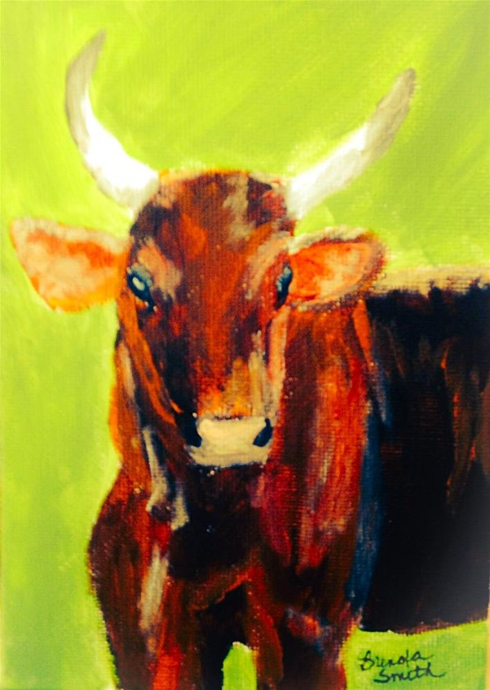 """Big Brown Bull"" original fine art by Brenda Smith"