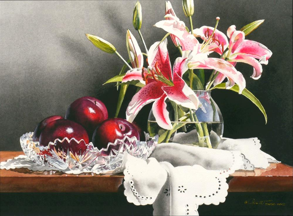 """Still Life with Stargazers & Plums"" original fine art by Jacqueline Gnott, TWSA, WHS"