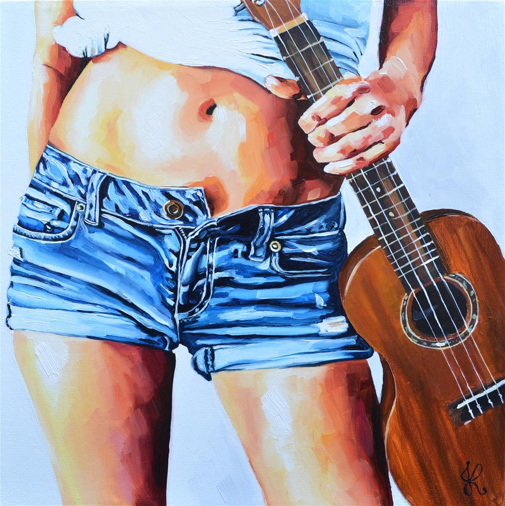 """""""Me and my Ukulele (From the Belly Jeans collection)"""" original fine art by Jacinthe Rivard"""