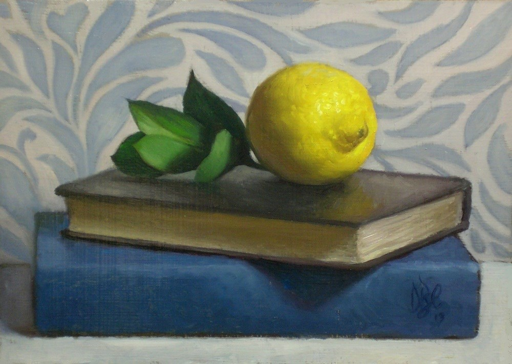 """Lemon, Blue and Green"" original fine art by Debra Becks Cooper"
