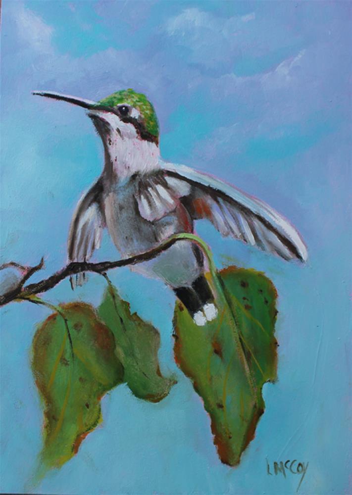 """Hummingbird, Kiss of Autumn"" original fine art by Linda McCoy"