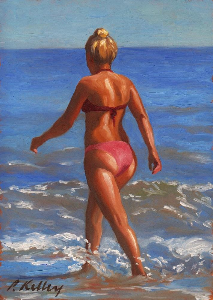 """Woman Walking at the Beach"" original fine art by Pat Kelley"