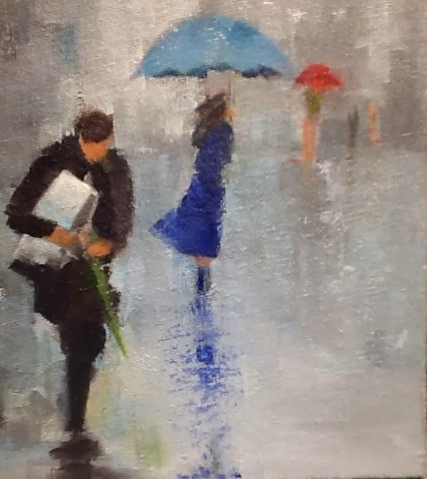 """""""Rainy Day Blue Umbrella"""" original fine art by Peggy Schumm"""