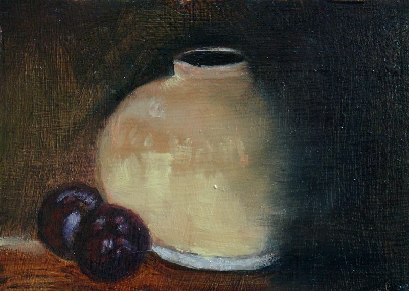 """""""Pot with Plums"""" original fine art by Susan Hammer"""