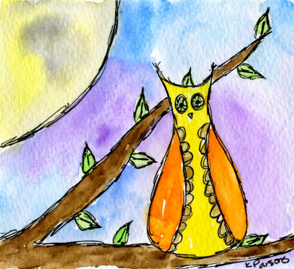 """""""Hoot at the Moon"""" original fine art by Kali Parsons"""