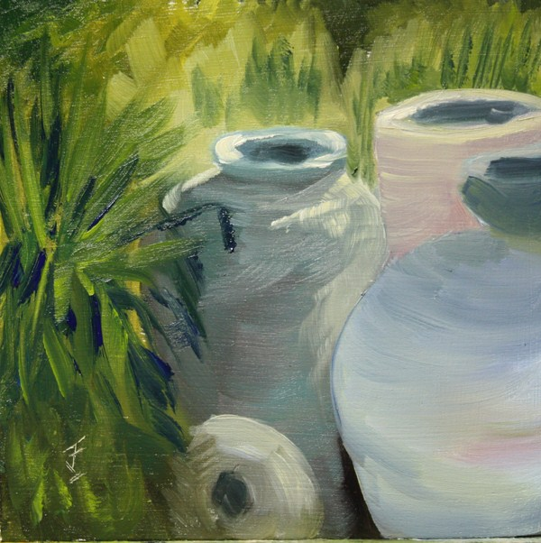 """Pile of Pots"" original fine art by Jane Frederick"