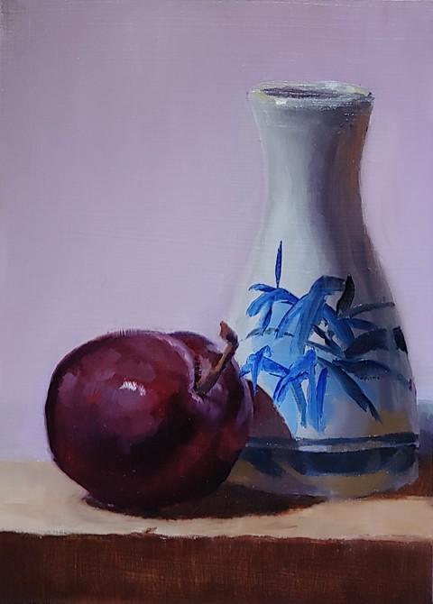 """71 - Plum and Bottle"" original fine art by Edward Watson"