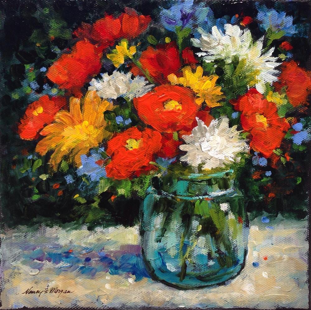 """Poppy Party"" original fine art by Nancy F. Morgan"