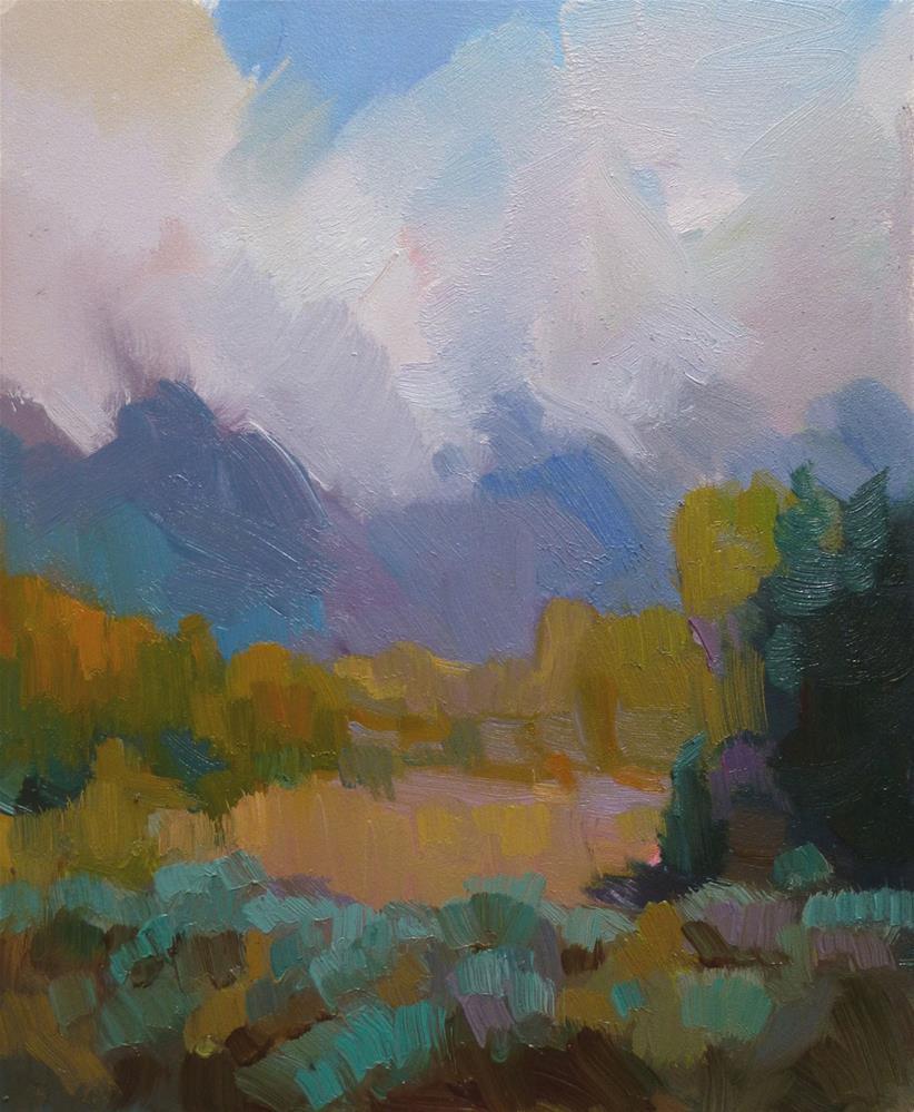 """""""Mountain Meadow, 12 x 10 In, Oil on Museum Board"""" original fine art by Kathryn Townsend"""